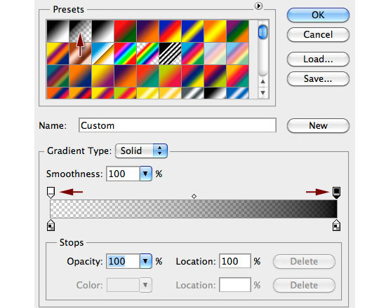 gradient transparent1 Create A Cool Typography Effect in Photoshop