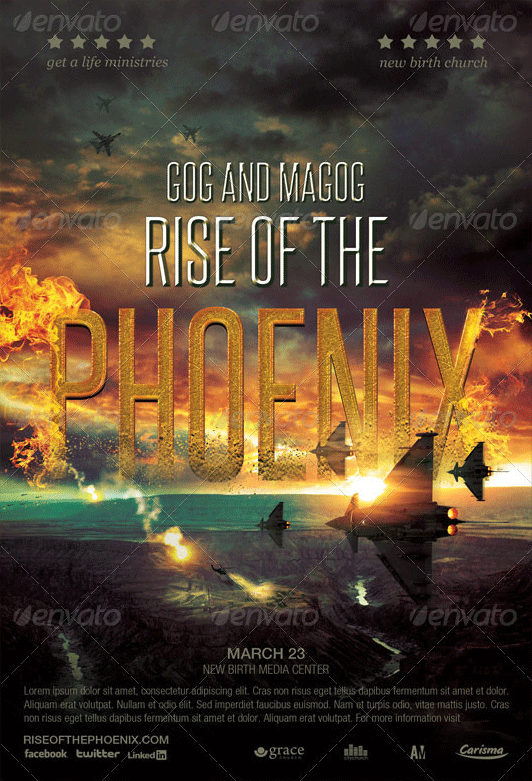 Rise of the Phoenix Flyer Ticket and CD Template Create a Cinematic Aerial Scene in Photoshop