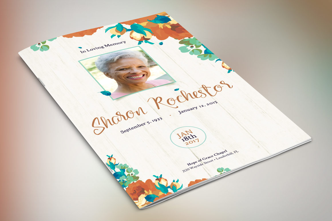 Autumn Floral Funeral Program Photoshop Template