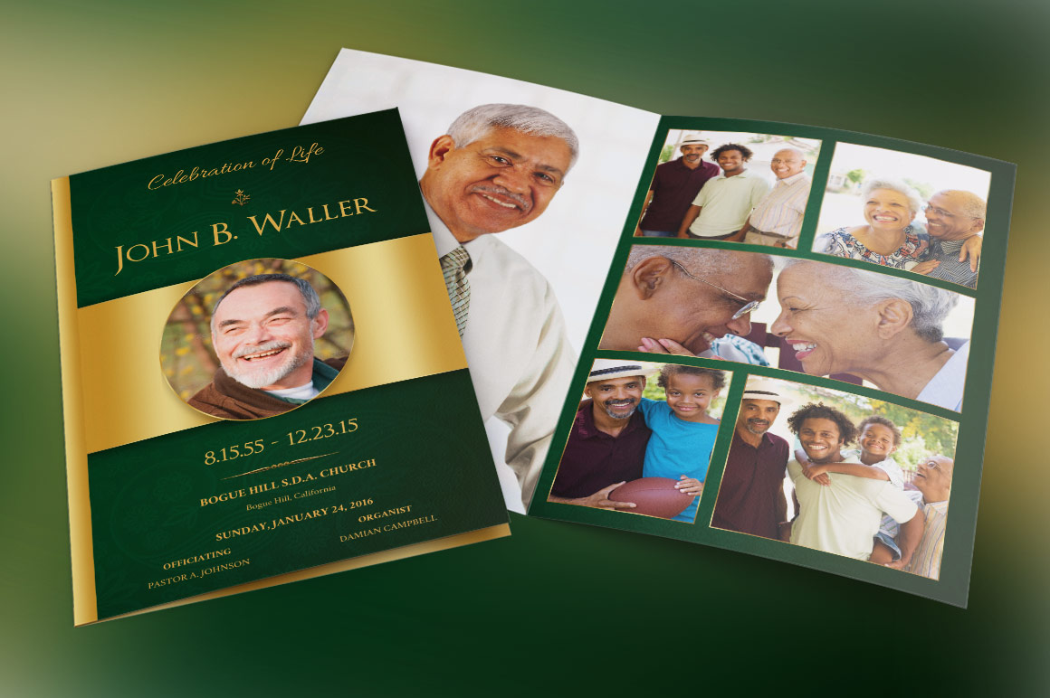 Green Regal Funeral Program Publisher Template