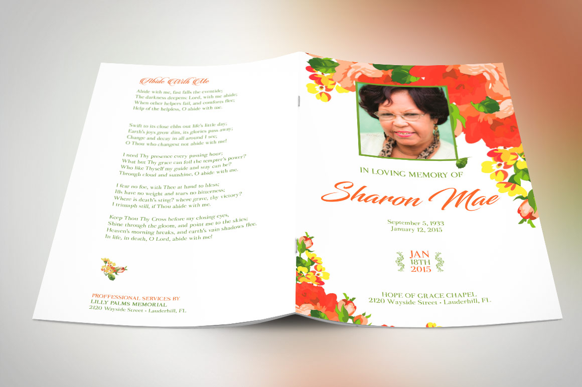 Orange Watercolor Funeral Program Publisher Template