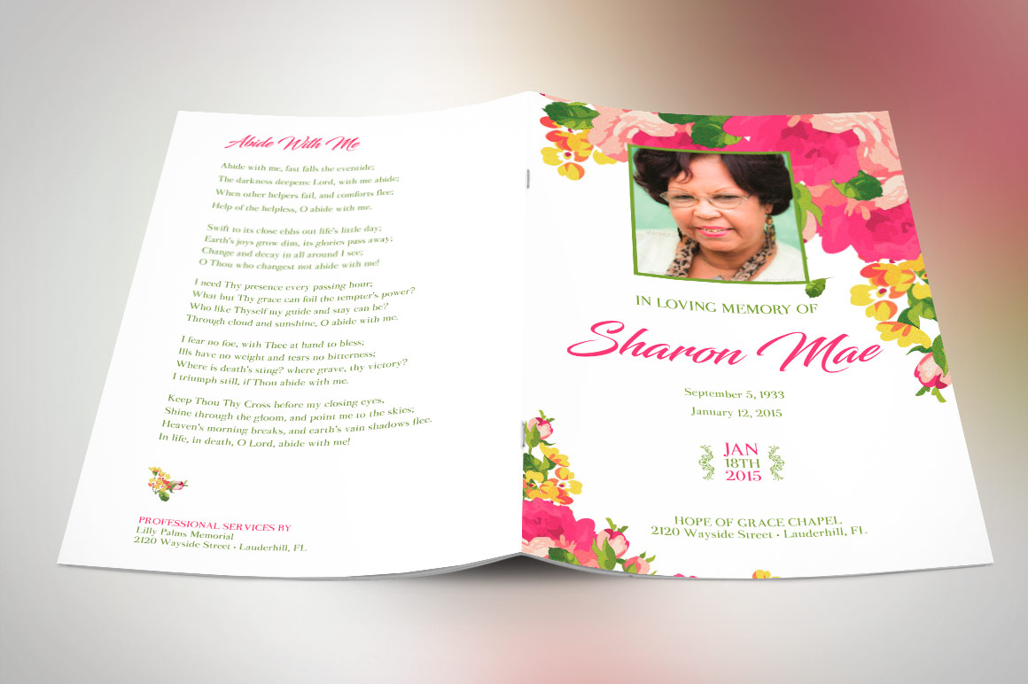 Pink Watercolor Funeral Program Publisher Template