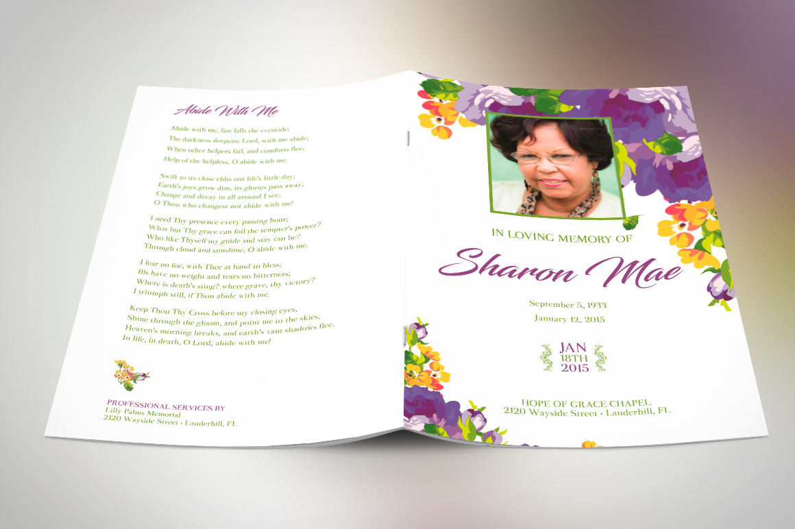 Purple Watercolor Funeral Program Publisher Template