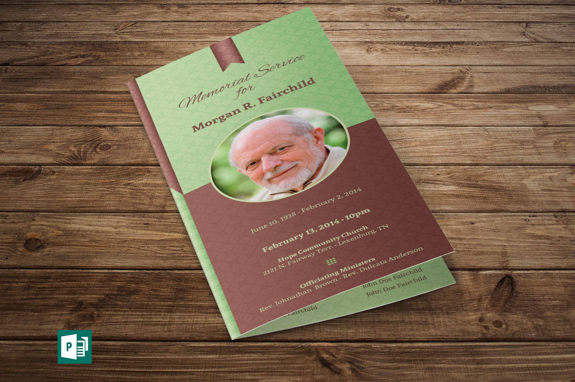 Bi-fold Funeral Program Publisher Template