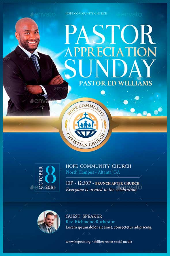 Pastor Appreciation Flyer TemplatesInspiks Market