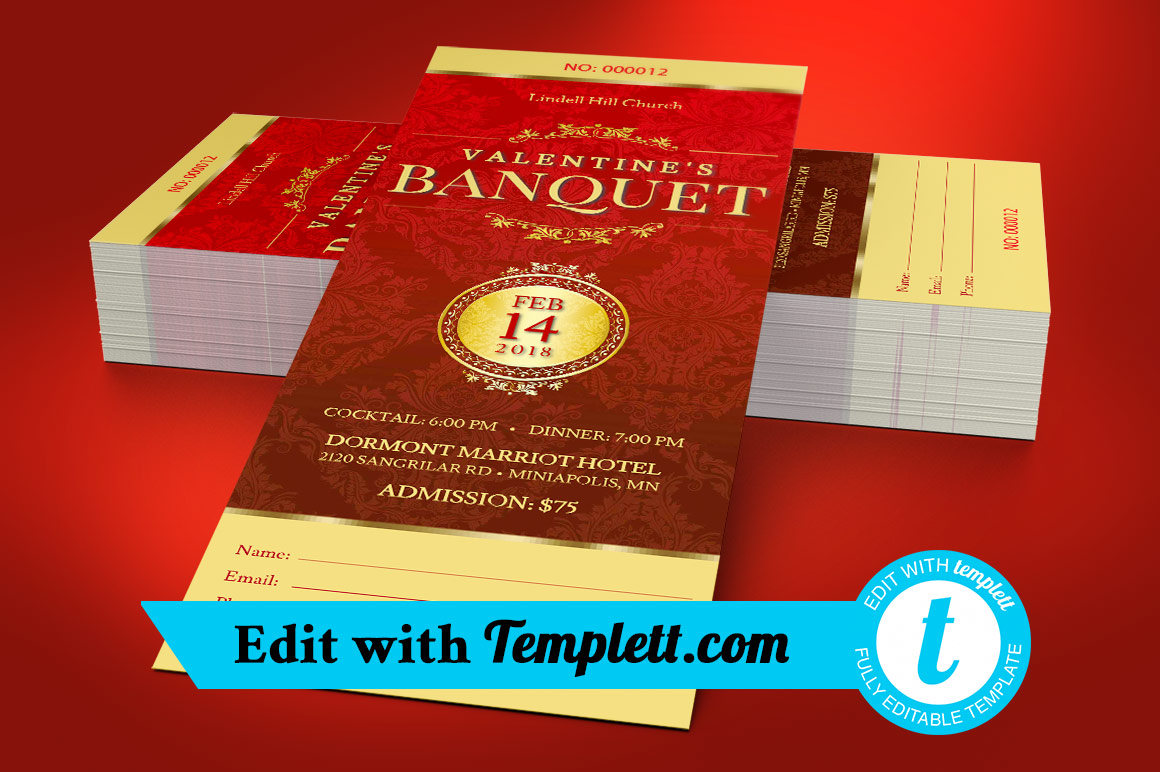 Red Valentines Banquet Ticket Templett
