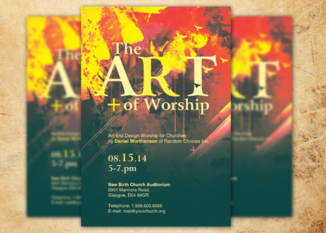 art of worship church flyer template inspiks market