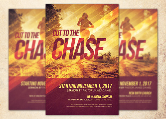 Cut To The Chase Church Flyer Template