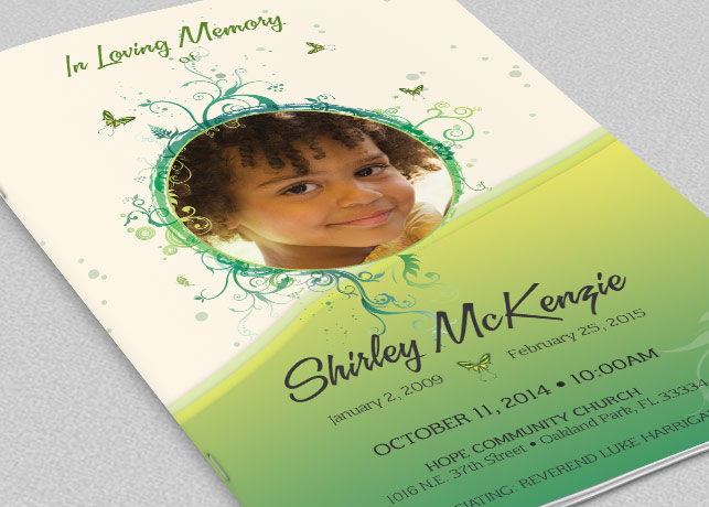 Princess Funeral Program Photoshop Template  Inspiks Market