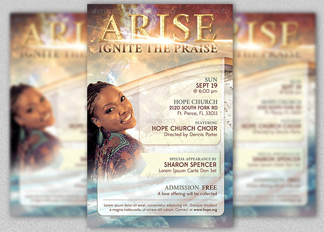 arise church concert flyer template inspiks market