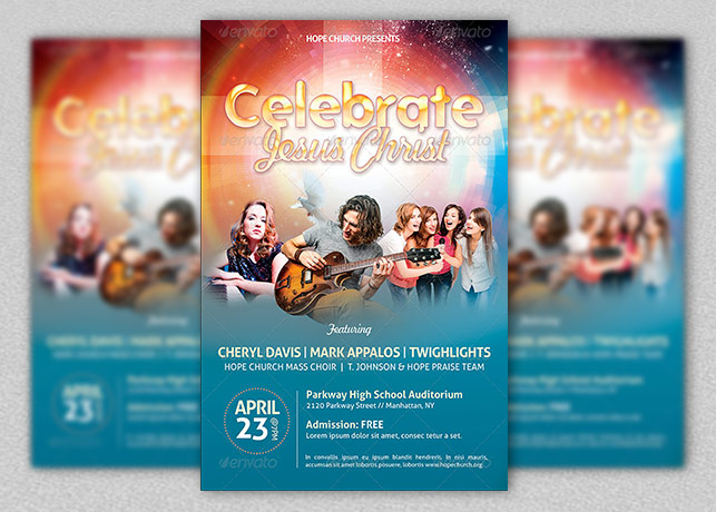 High Quality Celebrate Jesus Christ Concert Flyer Template To Christian Flyer Templates