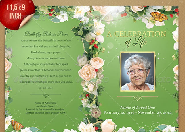 Funeral Program Booklet & Postcard Template | Inspiks Market