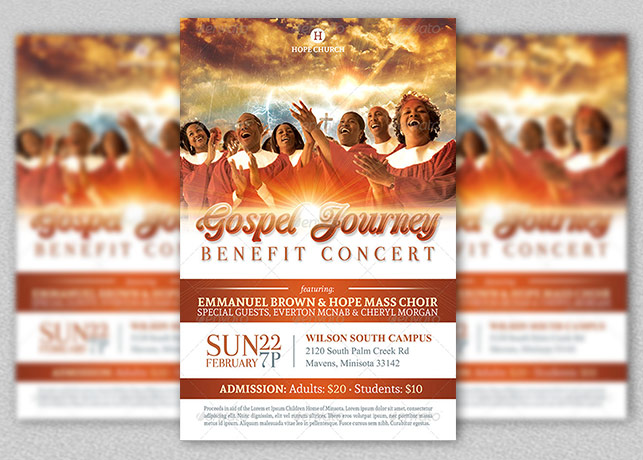 Gospel Benefit Concert Church Flyer Template | Inspiks Market