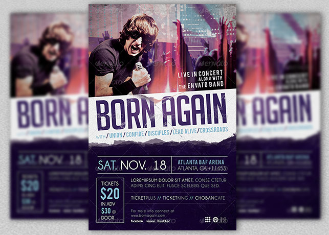 Gospel Rock Band Concert Flyer Template | Inspiks Market
