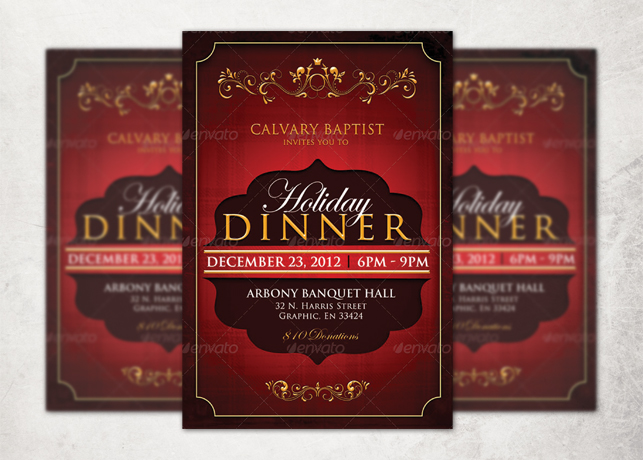 holiday dinner church flyer template inspiks market