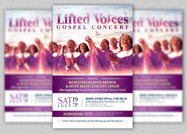 Modern Gospel Concert Church Flyer Template  Inspiks Market