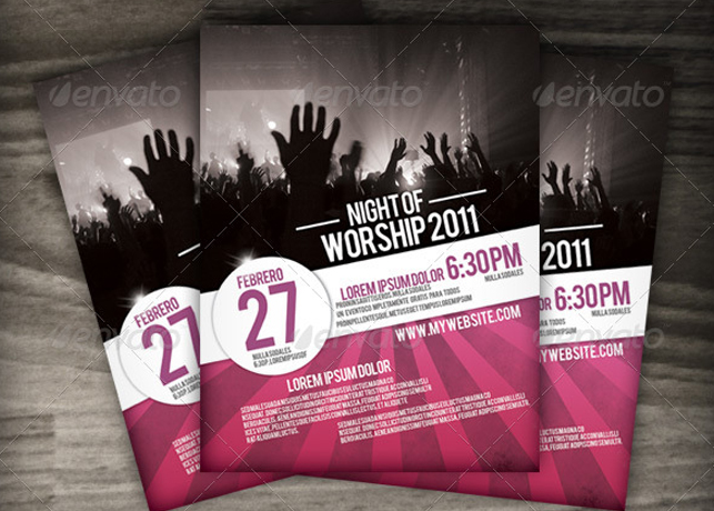 Night Of Worship Church Flyer Template. Night Of Worship Set