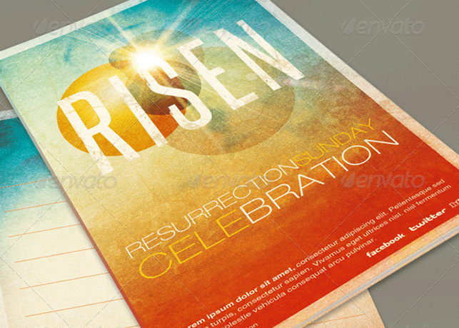 Risen Church Bulletin Template  Inspiks Market