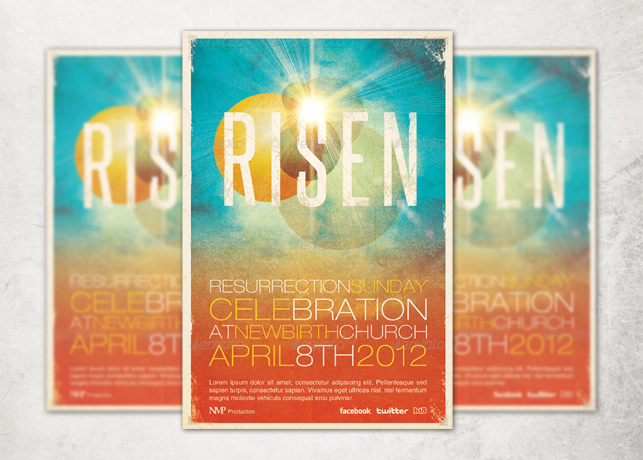 risen church event flyer and cd template inspiks market