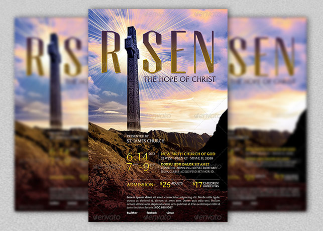 Risen Church Flyer Template Inspiks Market