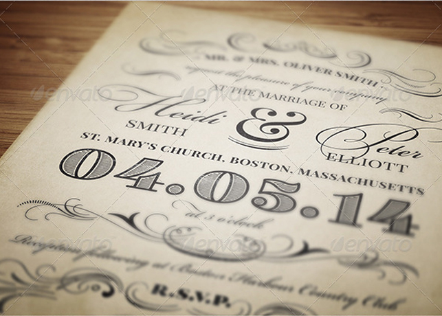 vintage wedding invitation template inspiks market