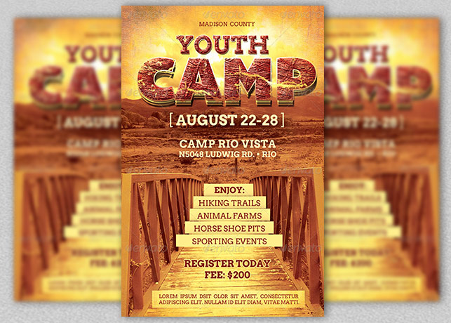 Youth Camp Flyer Template  Christian Flyer Templates