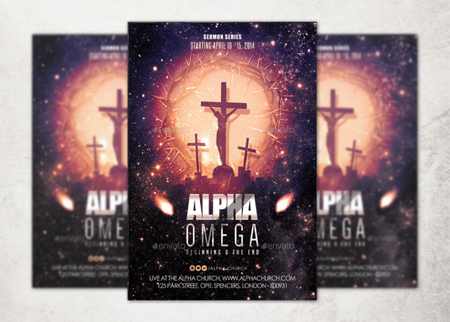 alpha and omega church flyer template