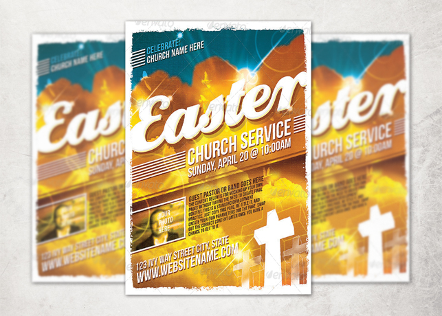 Easter Sunday Church Service Flyer Template  Inspiks Market