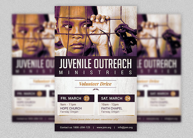 Juvenile Outreach Church Flyer Template  Donation Flyer Template