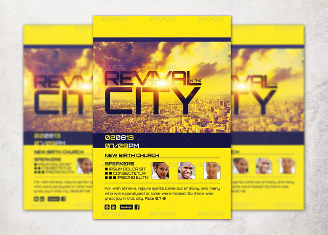 revival in the city church flyer template inspiks market
