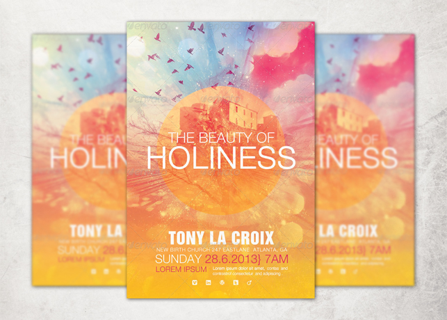 The Beauty Of Holiness Church Flyer Template Inspiks Market
