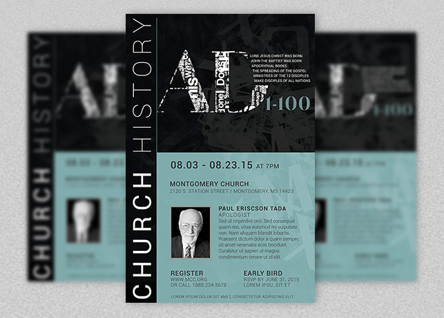 church history seminar flyer and poster template inspiks market