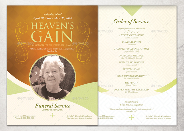 Heaven\'s Gain Single Sheet Funeral Program Template | Inspiks Market