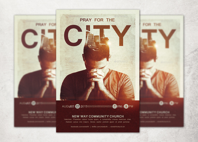 Pray For The City Church Flyer Template  Inspiks Market