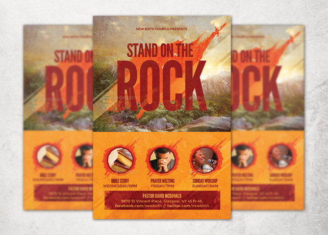 Stand On The Rock Church Flyer Template Inspiks Market