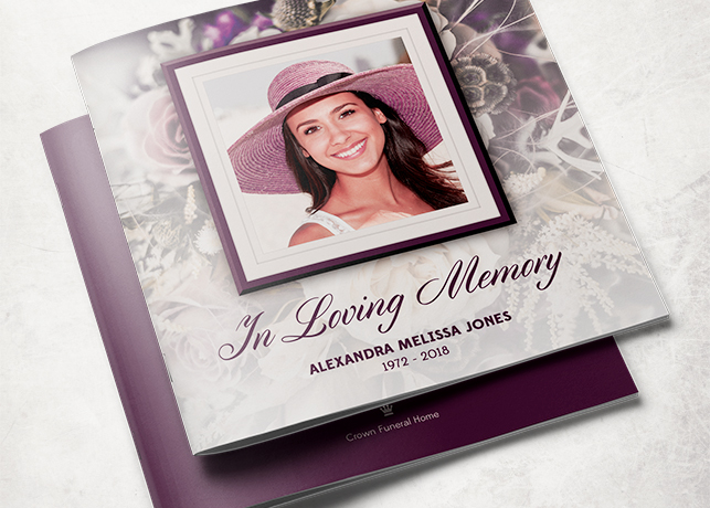 Purple Rose Funeral Program Template | Inspiks Market