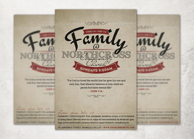 Vintage Church Invite Flyer Template Inspiks Market