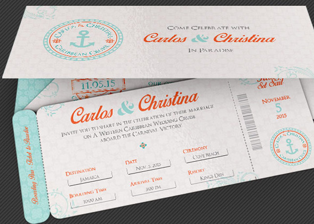 Wedding Cruise Boarding Pass Invitation Template | Inspiks Market