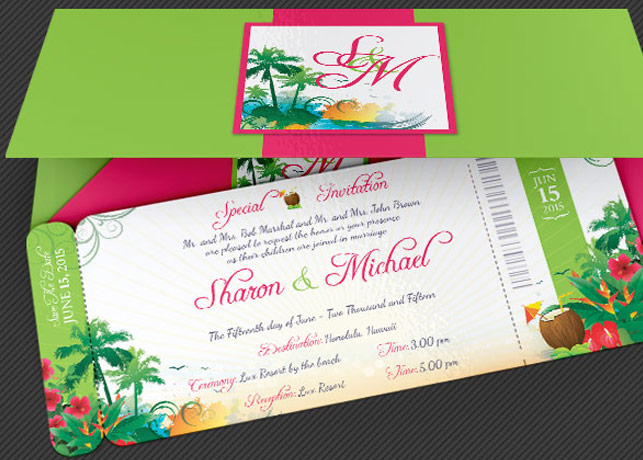 Wedding Hawaiian Boarding Pass Invitation Template Inspiks Market - Boarding pass wedding invitation template