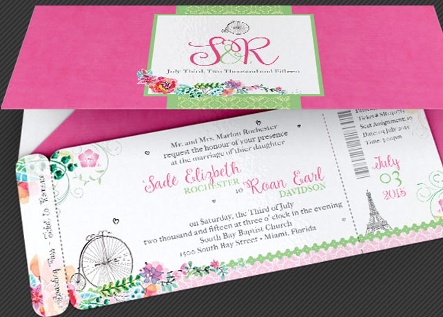 French Wedding Boarding Pass Invitation Template | Inspiks Market