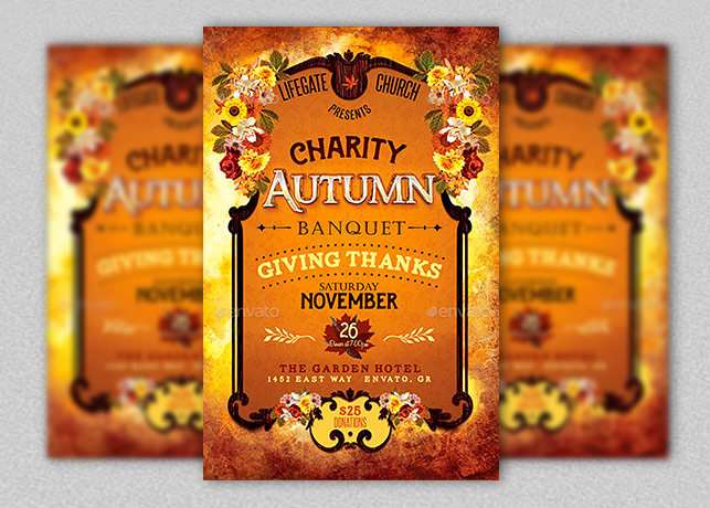 charity autumn banquet flyer template inspiks market