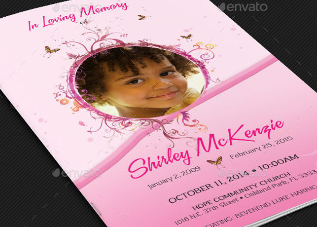 Girls Pink Funeral Program Template