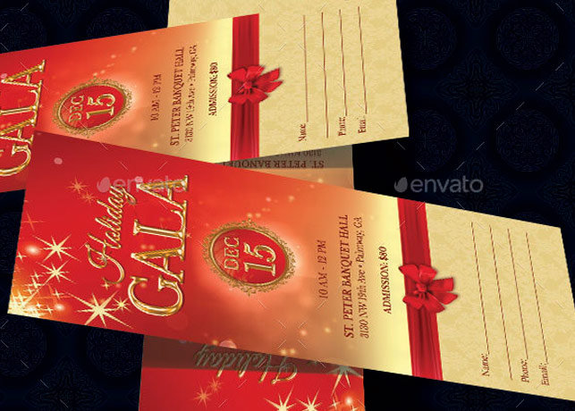 holiday banquet ticket template inspiks market