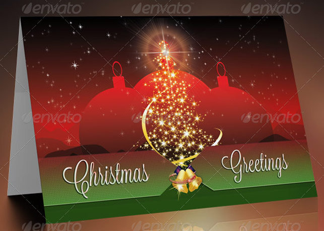 Christmas Greeting Card Template Inspiks Market - Christmas postcard template