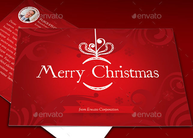 Christmas Greeting Postcard Template