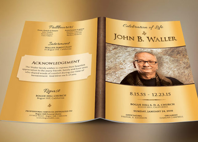 Solid Gold Funeral Program Template – Obituary Program Template