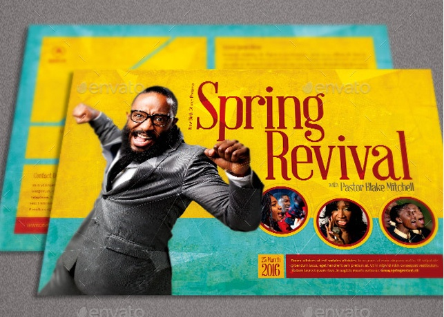 Spring revival church flyer template inspiks market for Free church revival flyer template