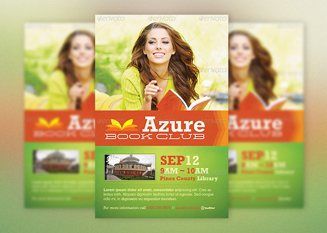 Azure Flyer Template Poster Template Book Club Poster Template Book