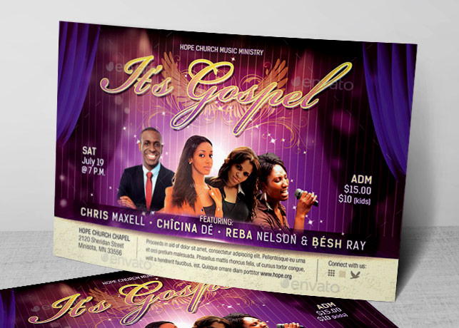 gospel concert church flyer template