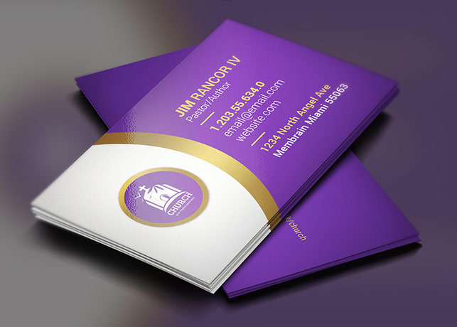 lavender church business card template - Pastor Business Cards
